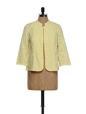 Light Yellow Cotton Jacket With Cut-work - Ozel Studio