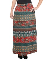 Trendy Multi-coloured Printed Long Skirt With A Side Slit - Purys