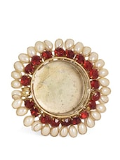 Red Tea Light Candle Holder With Pearl And Rhinestone Embellishments - Ambbi Collections