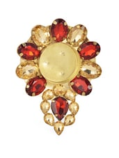 Gold Tea Light Candle Holder With Red Stone Embellishments - Ambbi Collections