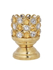 Gold Tea Light Metal Candle Holder With Stone Embellishments - Ambbi Collections