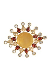 Elegant Gold Metal Tea Light Candle Holder With Red Stone Embellishments - Ambbi Collections
