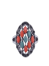 Stone Studded Metallic Ring - CIRCUZZ