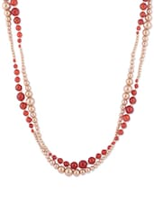 Red And Gold Beaded Necklace - CIRCUZZ
