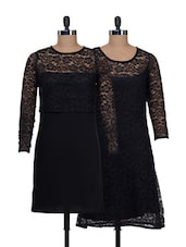Chic Black Half Net Dress Elegant Black Net Dress - @ 499