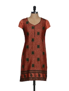 Scarlet Red Printed Chanderi Cotton Kurti - Limo