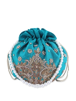 Embellished Peacock Blue Silk Potli -  online shopping for Potlis