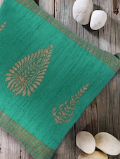 Chinar print sea green cushion cover