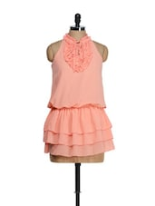 Coral Ruffled Mini Dress - Tops And Tunics