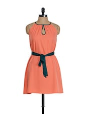 Coral Orange Dress With Teal Green Belt - Tops And Tunics