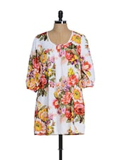 White Floral Print Tunic - Tops And Tunics