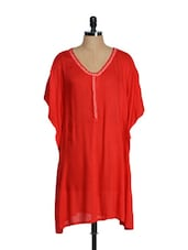 Elegant Red Oversized Top With Embroidered Neck - Tops And Tunics