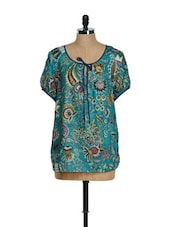 Teal Blue Poncho Top With Floral Prints - Tops And Tunics