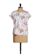White Boat Neck Floral Print Top - Tops And Tunics