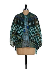 Teal Blue Oversized Winged Sleeved Top - Tops And Tunics