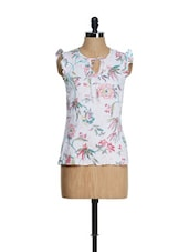 White Ruffled Sleeved Top With Floral Prints - Tops And Tunics