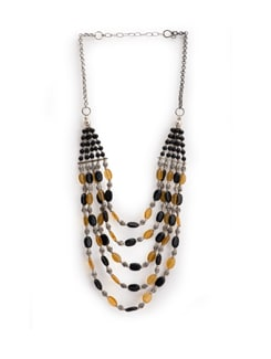 Black And Yellow Beads Necklace - Art Mannia
