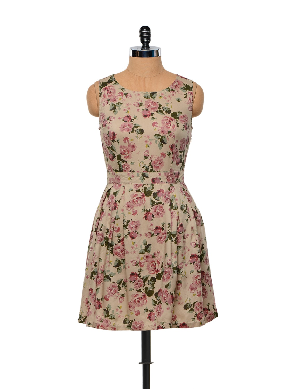 Besiva Rose Print Bow Dress - Besiva