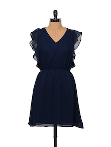 Besiva Navy Blue Ruffle Dress - Besiva