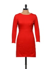 Besiva Threequarter Sleeve Solid Red Dress - Besiva