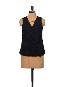 Besiva Polka Dot Sleeveless Top - Besiva