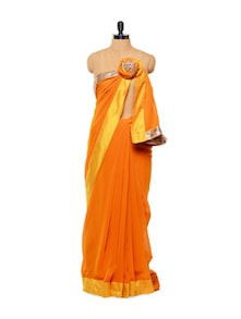 Sequined Orange Chiffon Saree - Istyledeals