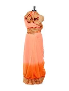 Ombre Orange-peach Chiffon Saree - Istyledeals