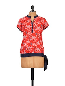 Red Butterfly Print Top - Ayaany