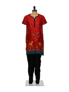 Red And Black Kurta And Salwar Set - Ayaany