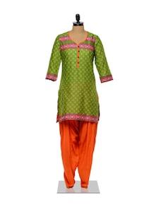 Printed Green Kurta And Orange Salwar Set - Ayaany