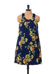 Floral-print Relaxed Navy Blue Dress - Purys