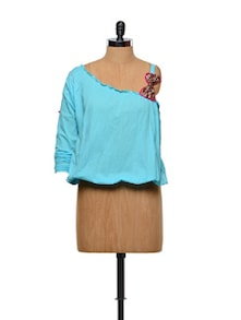 Turquoise Off-shoulder Balloon Top - Designed By Niharika Pandey