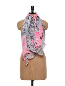 Sassy Chiffon Neon Pink And Grey Printed Stole - Sage