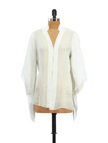 White Sheer Shrug Shirt With Flared Sleeves - Zzaaki