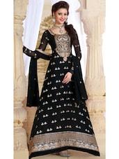 Black Embroidered Long Anarkali Suit - Khantil