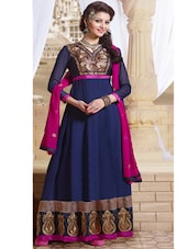 Blue And Pink Embroidered Anarkali Suit - Khantil