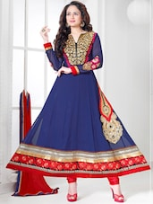 Blue And Red Designer Anarkali Suit - Khantil