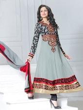 Grey Embroidery Anarkali Suit - Khantil