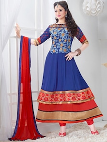 Embroidered Blue & Red Heavy Neck Anarkali Suit - Khantil