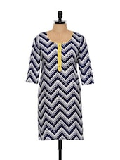 Monochrome Chevron Print Cotton Kurti - Free Living