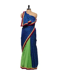 Cotton Chanderi Saree In Blue And Green - Free Living