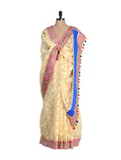 Elegant Peach Brasso Net And Art Silk Saree - Free Living