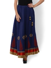 Zari Detailed Hand Block Blue Maxi Skirt - 9rasa