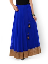 Blue Maxi Skirt In Georgette With Gold Border - 9rasa
