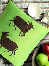 Heart Cows Green And Brown Cushion Cover - Per Inch