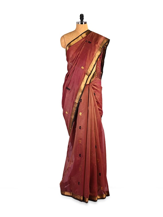 Exquisite Kosa Silk Brown And Gold Saree - Kosabadi