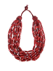 Reddish Brown Beaded Necklace With Semi-precious Stones - Fashion Essentials