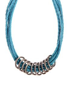 Blue Necklace With Metal Rings - Fashion Essentials