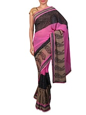 Pink Paisley Printed Chiffon Saree - By