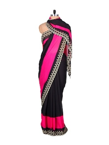 Black And Pink Faux Georgette Saree - Fabdeal